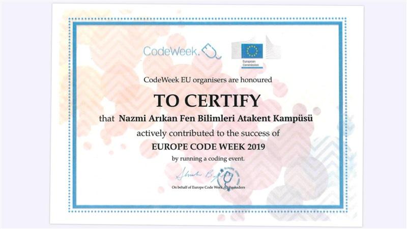 """2019 """"AB Code Week """" Etkinliğine Okul Olarak Katıldık."""