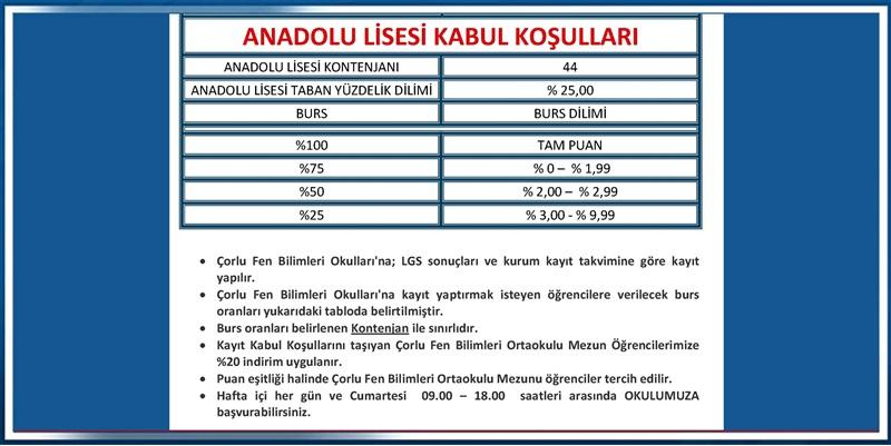 Anadolu Lisesi Kabul Koşulları