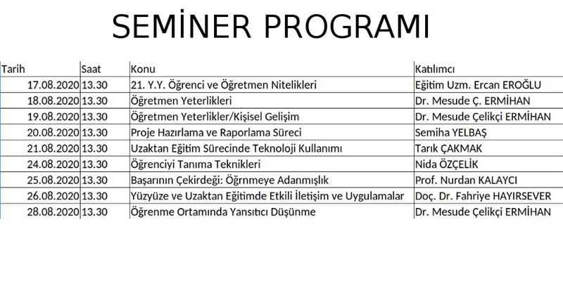 Seminer Programı